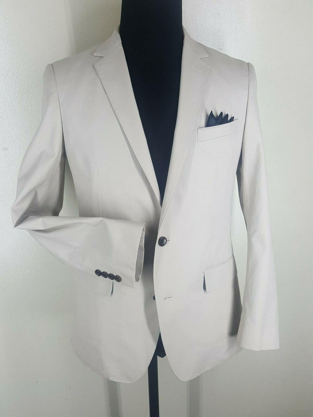 BONOBOS Recent 100% Cotton Beige Blazer 2 Btn Side Vents US Size 38 Reg.