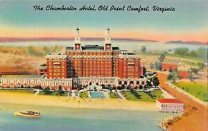 OLD-POINT-COMFORT-VIRGINIA-THE-CHAMBERLIN-HOTEL-YEAR-ROUND-RESORT-1949-POSTCARD