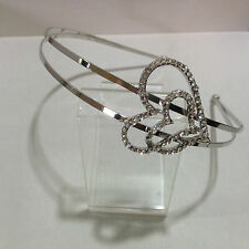Silver alloy two row headband with a diamante & Ab crystal side hearts HBH