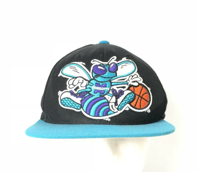 outlet store 2007f e1687 CHARLOTTE HORNETS MITCHELL   NESS HWC THROWBACK LOGO BLACK SNAPBACK HAT