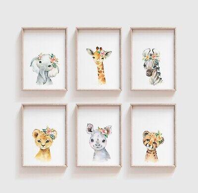 Watercolour Fl Baby Safari Animal