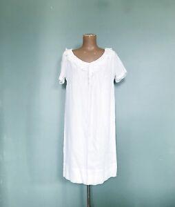 df8956cc99b Vtg 60s White Cotton Babydoll Mini Dress Boho Hippie Festival Lolita ...