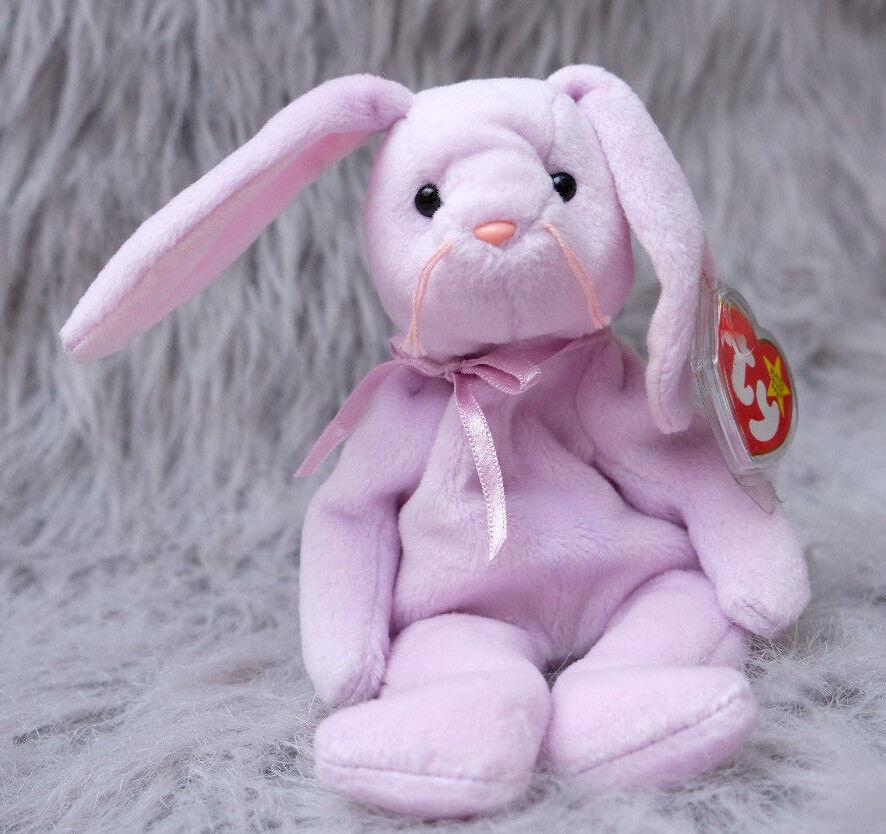 Floppity bunny ty pvc beanie baby im ruhestand mit druckfehler hängen - 1996
