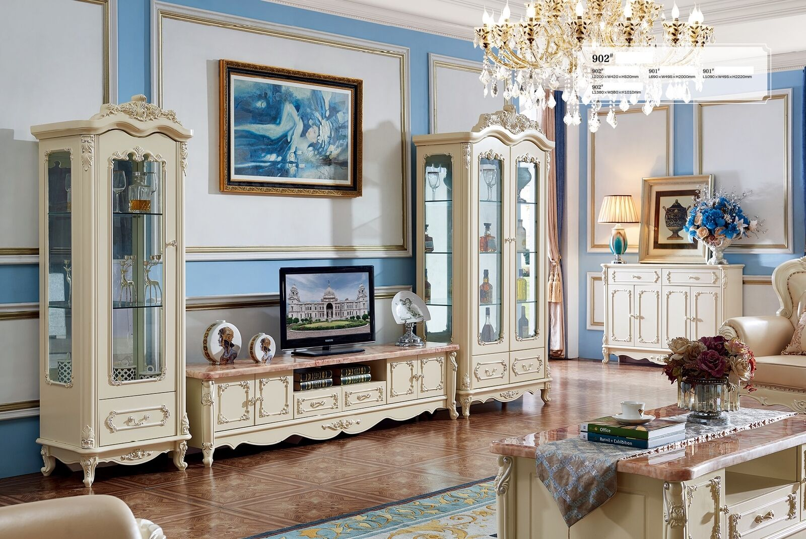 Wohnwand Barock Stil Wohnzimmer Vitrine Sideboard Rtv Regal