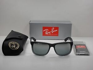 e7489d9abdac8 AUTHENTIC RAY-BAN JUSTIN SUNGLASSES RB4165 852 88 GREY RUBBER GREY ...