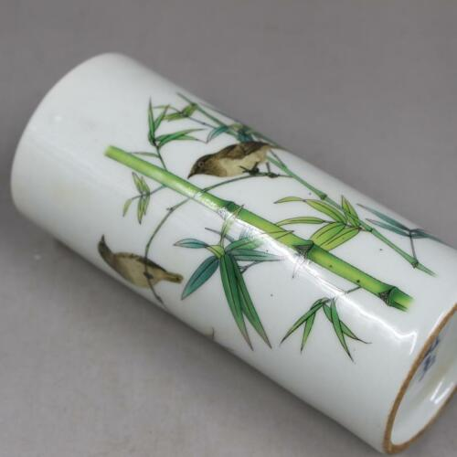CHINESE OLD MARKED FAMLLE ROSE BAMBOO AND BIRDS PATTERN PORCELAIN BRUSH POT