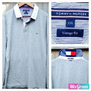 2b51ecc7 TOMMY HILFIGER Vintage Fit Long Sleeve Polo Shirt Jumper Light Grey ...