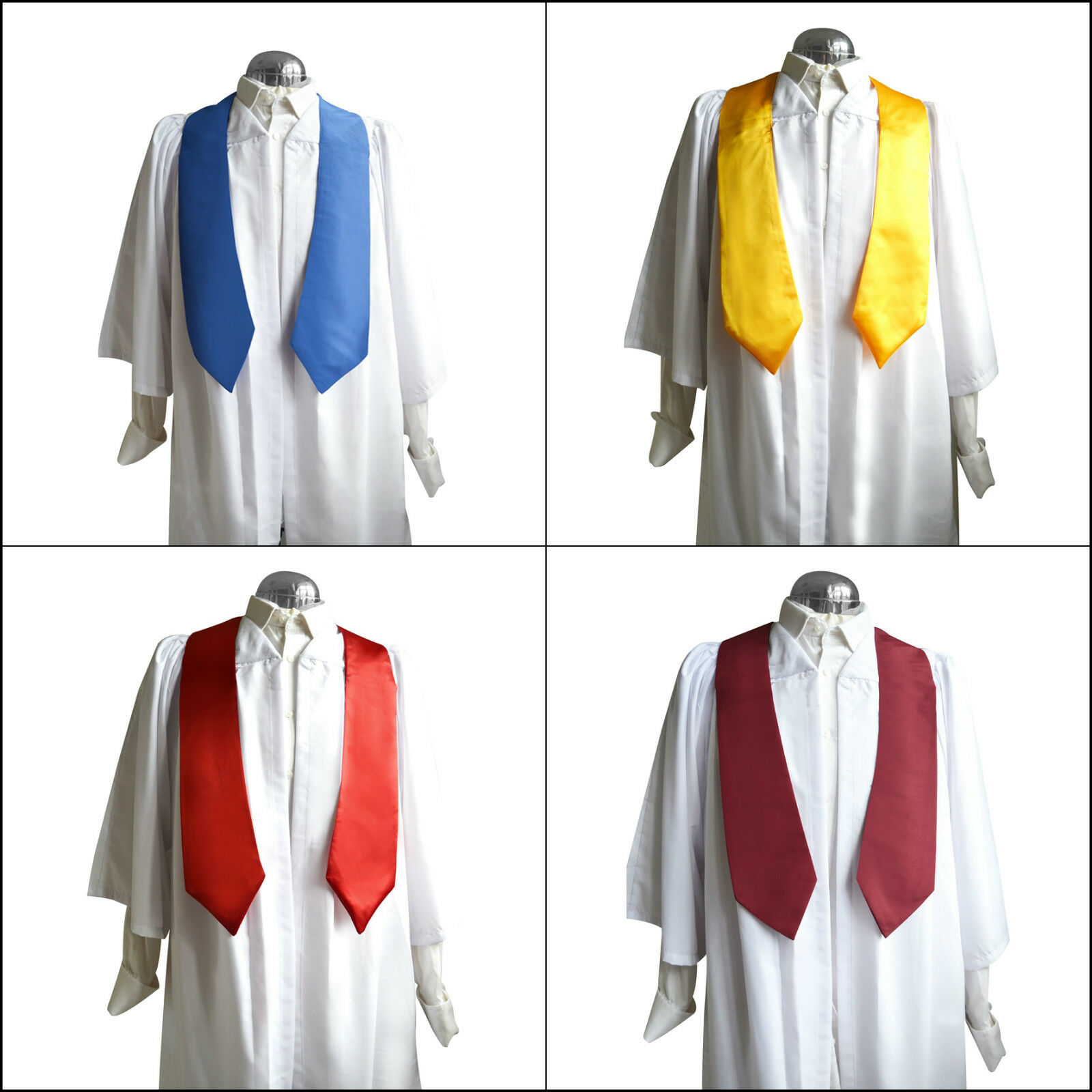 Set mit 10 Weiß Chor Roben Kleider und Schärpen Stolen Damen Herren Kirche