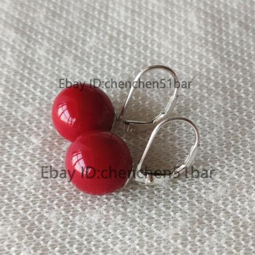925 Silber Ohrringe 12mm bordeaux  Muschelperle Hebel zurück Ohrringe