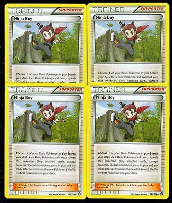 4x Pokemon Steam Siege Ninja Boy 103//114  Uncommon Card