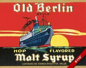 vintage old berlin malt syrup food advertisement ad poster art real canvas print ebay. Black Bedroom Furniture Sets. Home Design Ideas