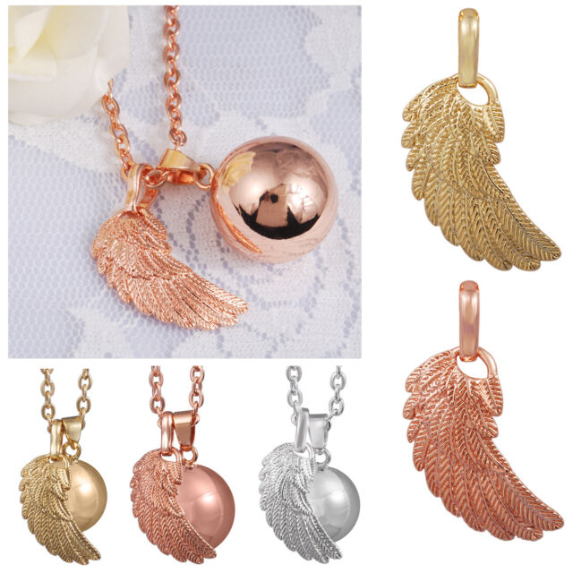 18K Silver Gold Angel Wing Chime Ball Pendant Necklace Bolas for Pregnant Mom
