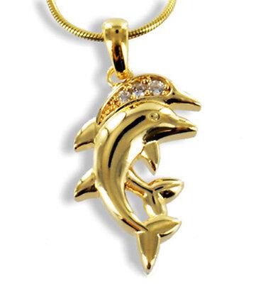 GOLD DOUBLE *** Zirkonia Anhänger Delfin Delphin Delfinpaar, Kette optional | eBay