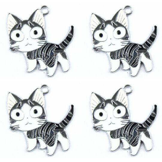 Lot Lovely Cat Metal Charms Pendants Earrings Jewelry Make Party Gifts Q57