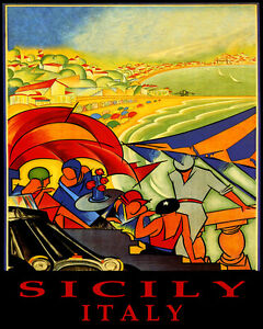 POSTER SICILY ITALY BEACH FUN PARTY SAILING SUMMER TRAVEL VINTAGE REPRO FREE S/H