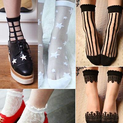 Vintage Princess Sweet Baroque Lace Stripe Ankle Socks Transparent stockings