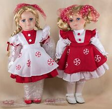 "Heritage Signature Collection The Peppermint Twins Porcelain Dolls 12"" With Box"