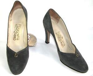 Buen Tercipelo 38 7 Muy Cuero Estado Zapatos Gris Ferragamo Vintage Salvatore 5 xaq4vwISy
