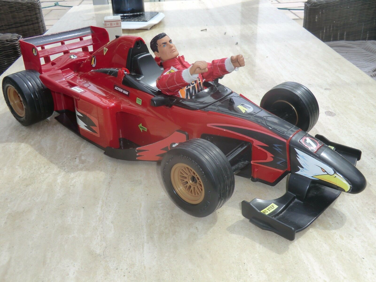 HARSBRO ACTION MAN FIGURE AND   FERRARI  RACING CAR      ( WITH SOUND EFFECTS )