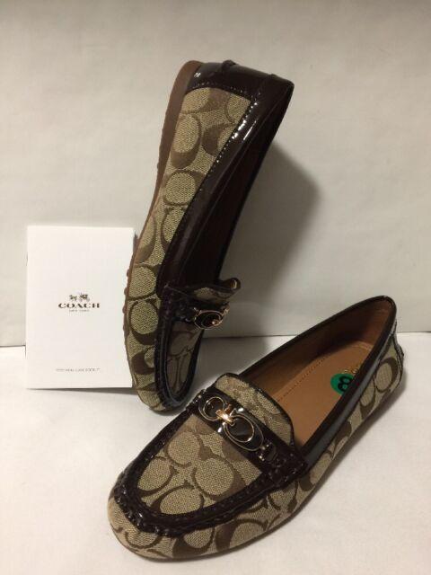 0a3371bb4a0 Coach Fortunata Women s 8 Signature Jacquard Patent Leather Khaki Loafers  Flats