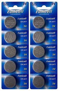 10-x-CR2477-3V-Lithium-Knopfzelle-1050-mAh-2-Card-a-5-Batterien-Euni
