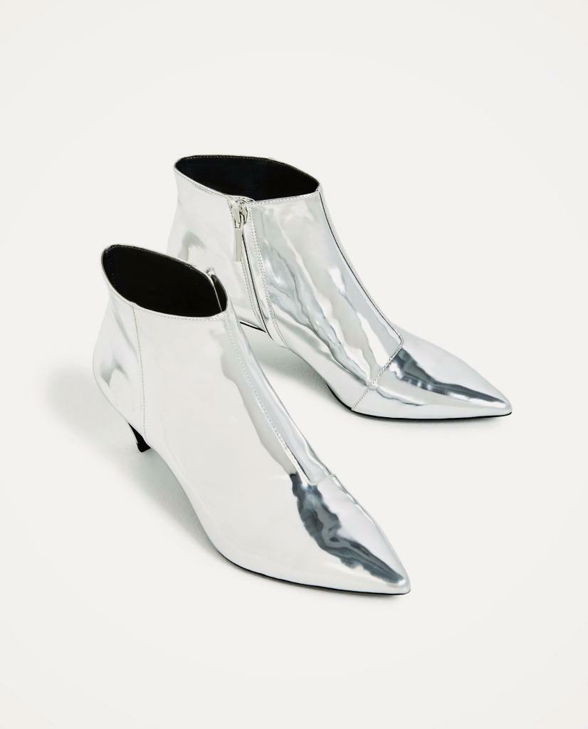 BNWT  ZARA SILVER HIGH HEEL ANKLE BOOTS s.39 UK 6 US 8  Ref. 1106 201