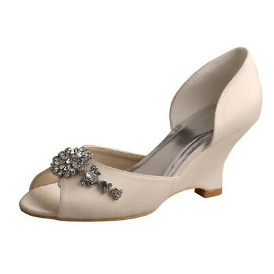 Bridal Wedding Shoes Wedges D Orsay Peep Toe Satin Baroque