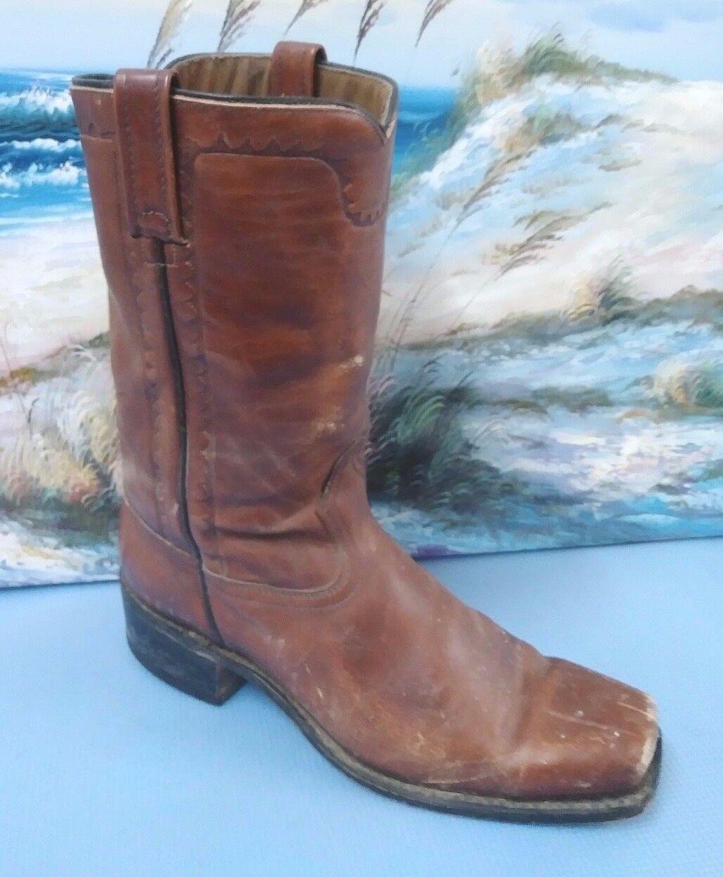 Vintage ACME cowboy western  boots Style 5604 brown leather .. Men's 10 E