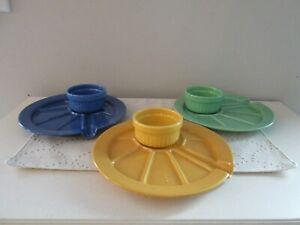 Hoffritz-Fondue-Appetizer-Sushi-Plates-Serving-Cup-Set-3-Blue-Green-Yellow