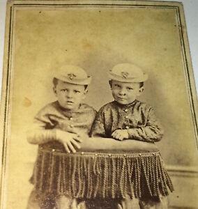 Antique-Victorian-American-Civil-War-Era-Fashion-Little-Brothers-CDV-Photo-US