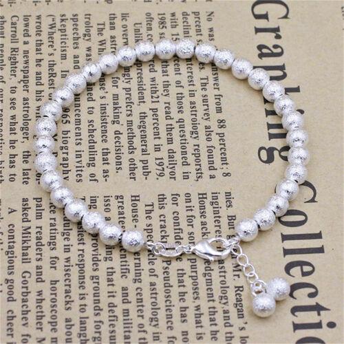 Damen Armband Silber Perlen Kugel Perlenarmband Armkette 925 Silber plattiert