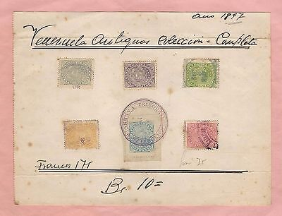 Venezuela: Telegraph 1897; Set in old album sheet, used. VE824
