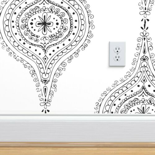 Peel-and-Stick Removable Wallpaper Black And White Moroccan Hand Drawn Block