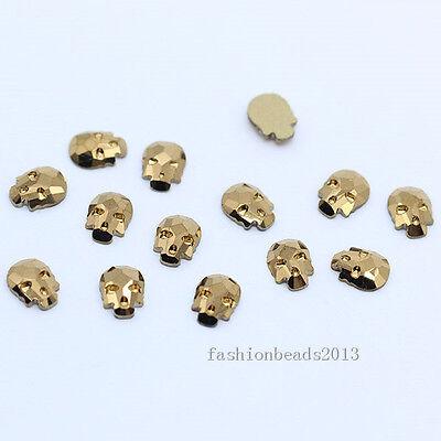 6x8mm color Crystal flatback Rhinestone Skull DIY Glitter 3D Nail Art Gems craft