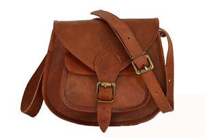 502961a119b88 Das Bild wird geladen Tasche-Braun-Leder-Umhaengetasche-Damen-Handtasche- Schultertasche-Crossover-