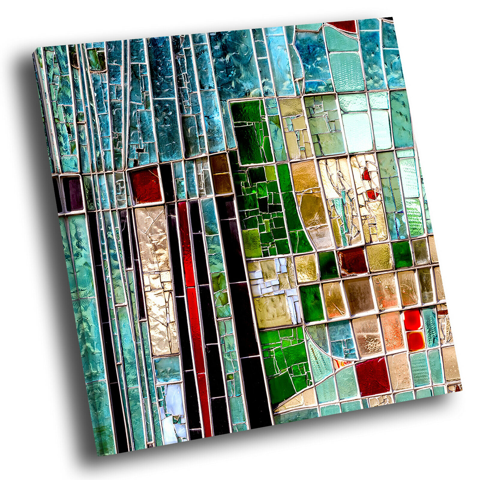 Blau Grün rot Square Abstract Photo Canvas Wall Art Large Picture Prints