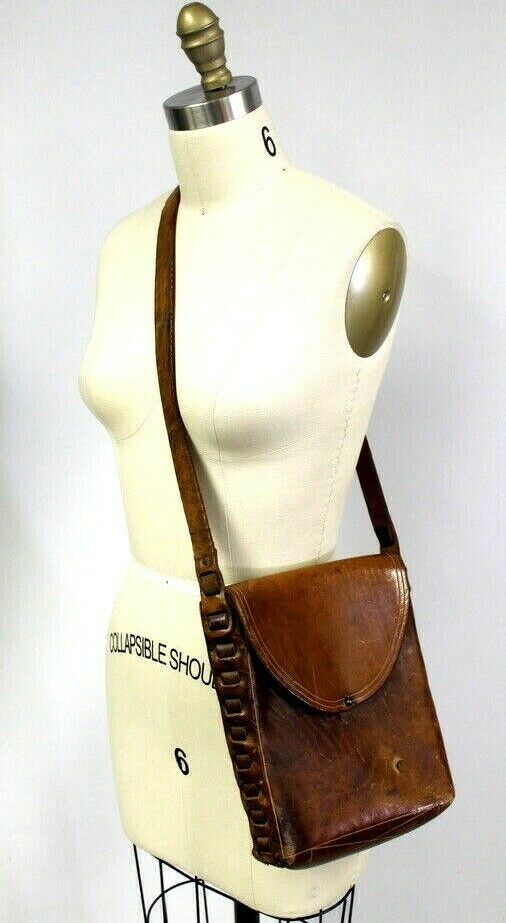 VTG Andrew Picard Shoulder Purse Brown Leather Flap Distressed Hand Made 1973