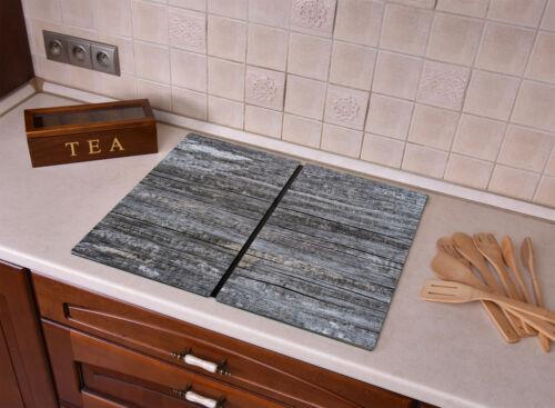 Glas Herdabdeckplatte für Küche Herdabdeckung Holztextur Betontextur Loft