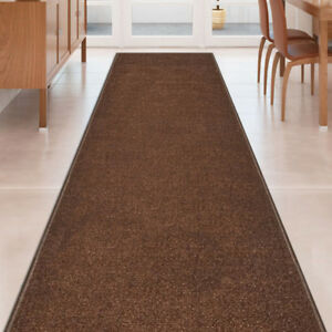 Custom-Size-SOLID-BROWN-Stair-Hallway-Runner-Rug-Non-Slip-Rubber-Back
