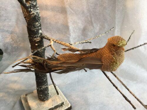 Hesse or pailleté oiseau décoration rustique clip sur Gisela Graham Arbre de Noël