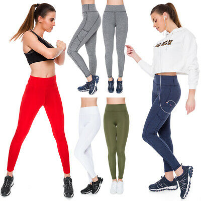Honig Womens Sports High Waisted Solid Leggings Yoga Gym Stretchy Pants Pockets Ps01