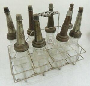 Vintage 8pc Glass Oil Bottles with pour spouts, Caps & Carrier