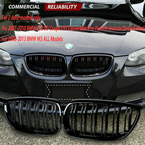 For BMWE93  E92 M3 335i 328i Coupe 2007-10 Front Kidney Grill Grille Gloss Black