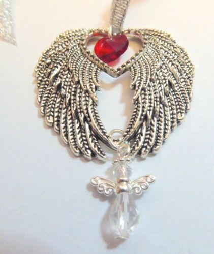 Souvenir arbre de noël décoration Argent Antique Ailes d/'ange cristal Ange