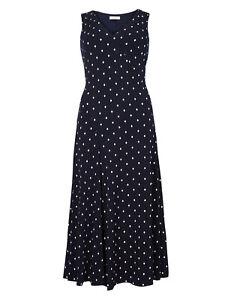 M-amp-S-Per-Una-Size-8-18-Lined-Soft-Stretch-Navy-White-Geometric-Print-Midi-Dress