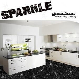 Black Sparkle Safety Flooring Kitchen Floor Vinyl Lino