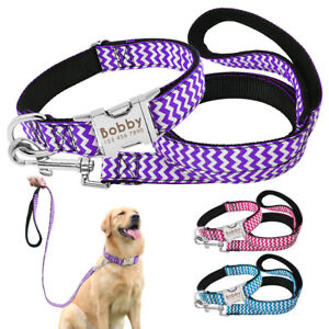 Nylon-Small-Large-Dog-Collars-amp-Leads-Personalised-Pet-Name-ID-Heavy-Buckle-M-L