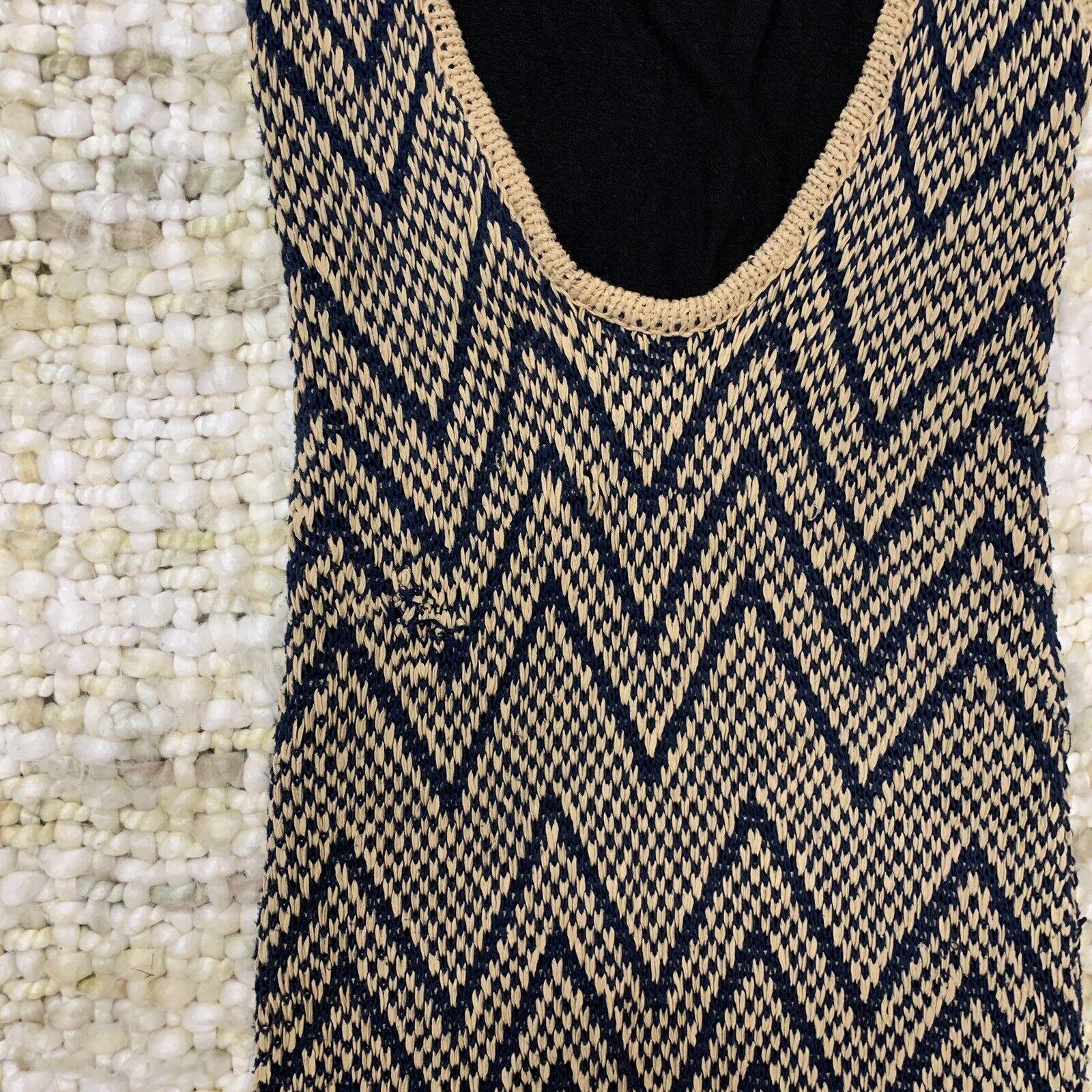 Rag Bone Knit Sleeveless Tank Dress Tan and Blue … - image 5