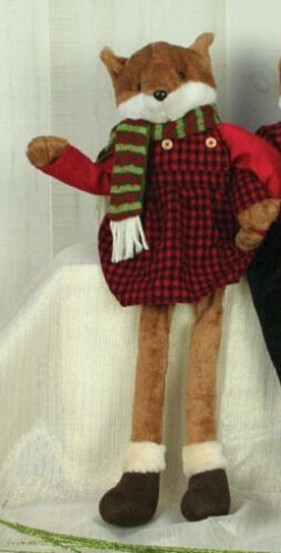 25016 Red Party Plaid Fox Hunt Dangle Legs Sitter Doll Christmas Decoration