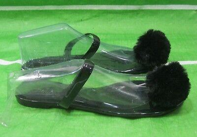 new Womens Black Summer Beach Retro T-Strap Flat Jellies Jelly Sandal Size 9